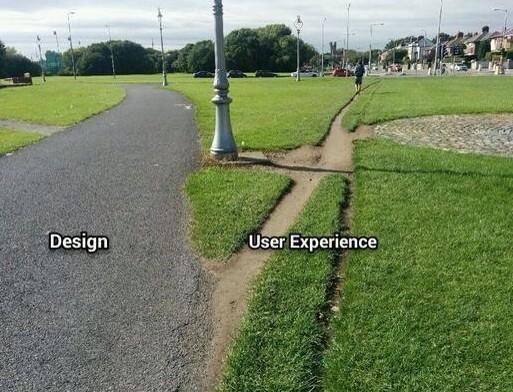Une célèbre photo qui montre la différence entre le design prévu et l'expérience utilisateur réelle : la route prévue pour les piétons, et le chemin tracé dans l'herbe que les piétons empruntent régulièrement car plus court