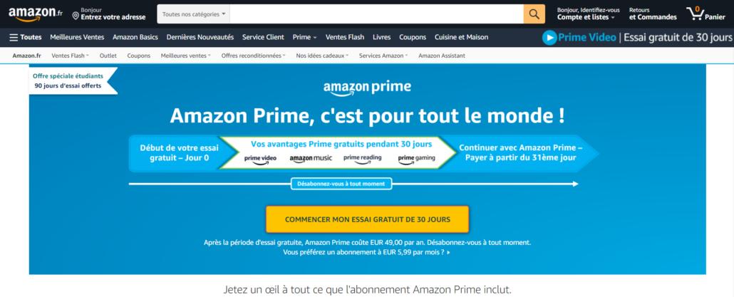 L'écosystème Amazon Prime est composé d'au moins 5 sites différents